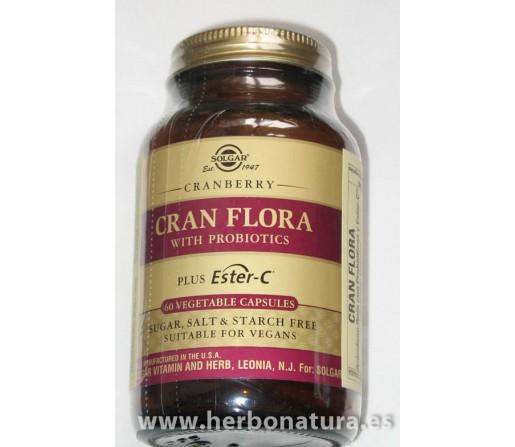 Cran flora con probióticos y ester C Arandano Rojo 60 cápsulas SOLGAR