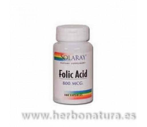 Acido Fólico Folic Acid 100 cápsulas SOLARAY