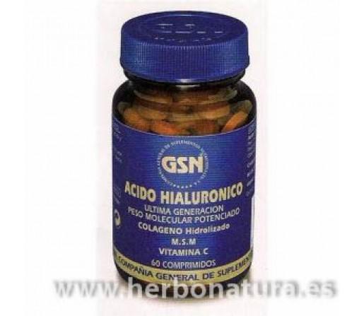 Acido Hialurónico con colágeno hidrolizado, MSM y vit C 60 comprimidos GSN