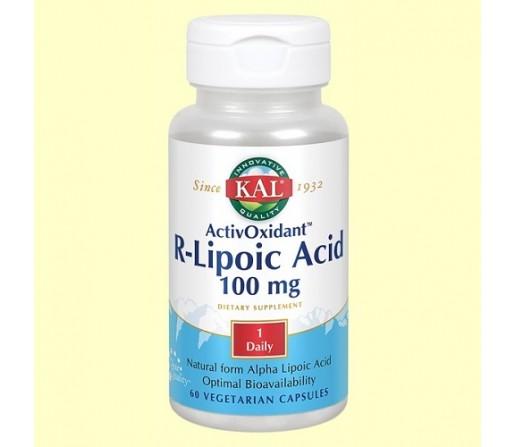 Acido R- Lipoico, 100mg, R-Lipoic Acid 60 cápsulas SOLARAY KAL