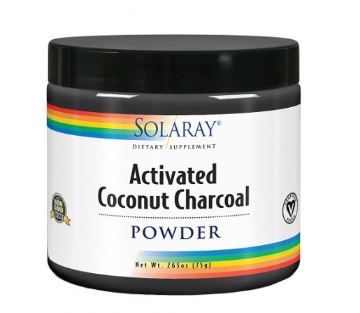Activated Coconut Charcoal Carbón Activo de Coco 75gr. SOLARAY
