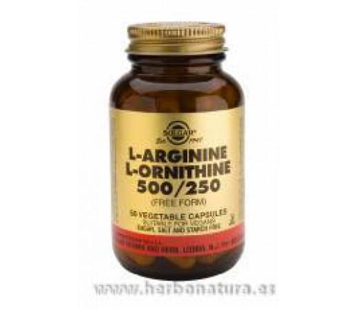 L-Arginina / L-Ornitina 500 / 250 mg 50 Cápsulas vegetales SOLGAR