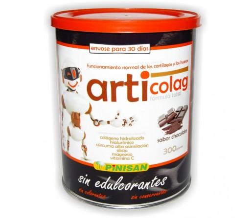 Articolag, Colágeno hidrolizado, Hialurónico, Cúrcuma, Silício... Sabor chocolate 300gr. PINISAN