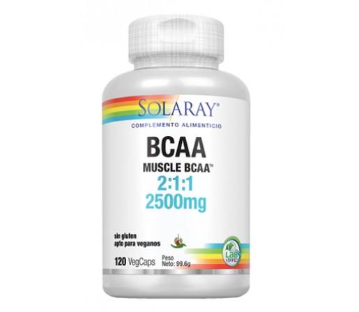 BCAA Aminoácidos Ramificados Sin Gluten 120 Cápsulas vegetales SOLARAY