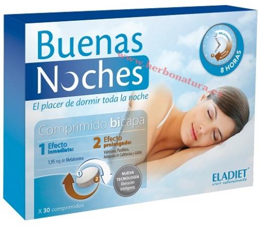 Buenas Noches, Melatonina, GABA, Valeriana, Pasiflora... 30 comprimidos ELADIET