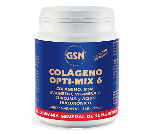 Colágeno Opti-mix 6, Cúrcuma, MSM, Acido Hialurónico, Magnesio y Vitamina C Naranja 365gr. GSN