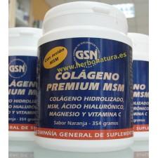Colágeno Premium MSM, Acido Hialurónico, Magnesio y Vitamina C Naranja 354gr. GSN