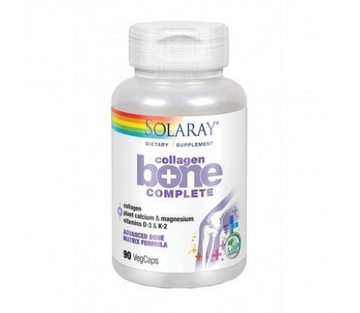 Collagen Bone Complete, Colageno tipo 1 y 2, Calcio, Magnesio, D3... 90 cápsulas SOLARAY