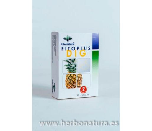 Fitoplus Dig Digestivo Enzimas, Hinojo, Alcachofa, Pimienta 30 cápsulas INTERNATURE