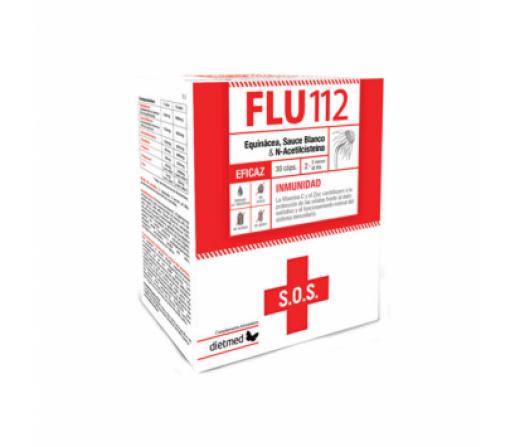 Flu 112, Equinacea, Acetilcisteina, Sauce, Própolis, Vitamina C y Zinc 30 cápsulas DIETMED