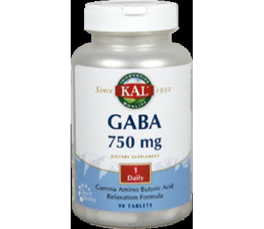 GABA 750 mg Ácido gamma aminobutírico 90 comprimidos SOLARAY KAL