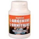 L-Arginina / L-Ornitina 600 / 300 mg 60 comprimidos HEALTH AID en Herbonatura.es