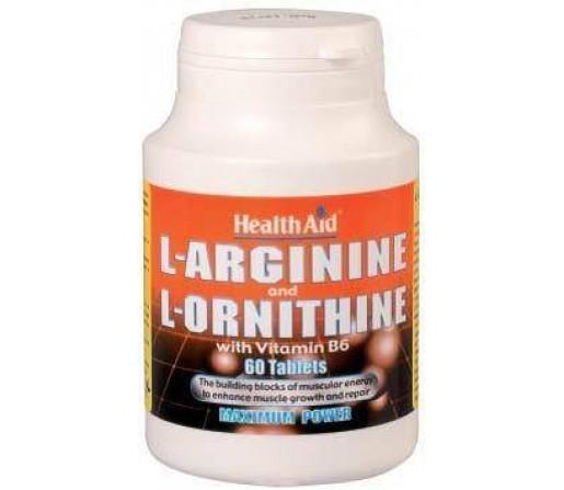 L-Arginina / L-Ornitina 600 / 300 mg 60 comprimidos HEALTH AID