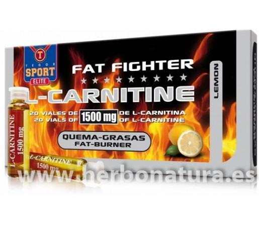 Fat Fighter L-Carnitine 1500mg. de Carnitina Pura 20 viales TEGOR SPORT