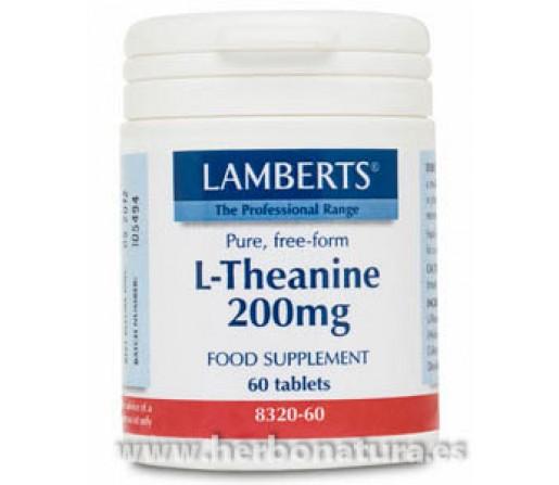 L-Teanina 200 mg Theanine Calmante, Relajante 60 comprimidos LAMBERTS