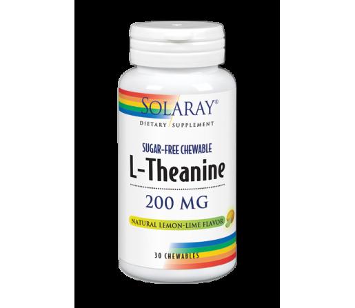 L-Theanine, Teanina 200mg. Sabor natural de limón, 30 comprimidos masticables SOLARAY
