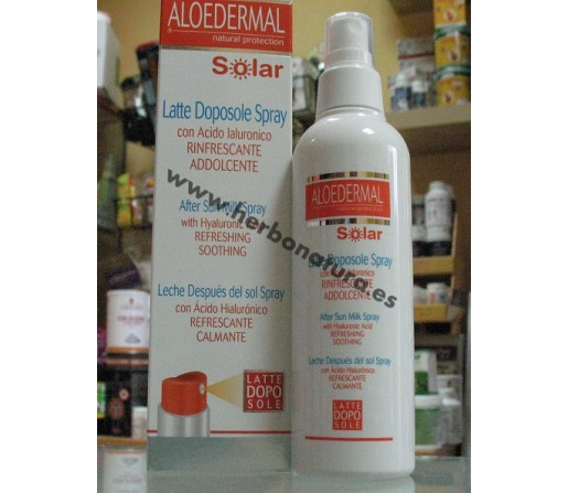 Aloedermal Leche Despues del Sol Spray con Acido Hialurónico Refrescante y Calmante 200ml. ESI