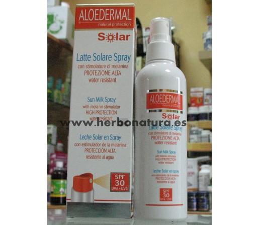 Aloedermal Leche Solar Spray Con Estimulador de Melanina SPF 30+ 150ml. ESI