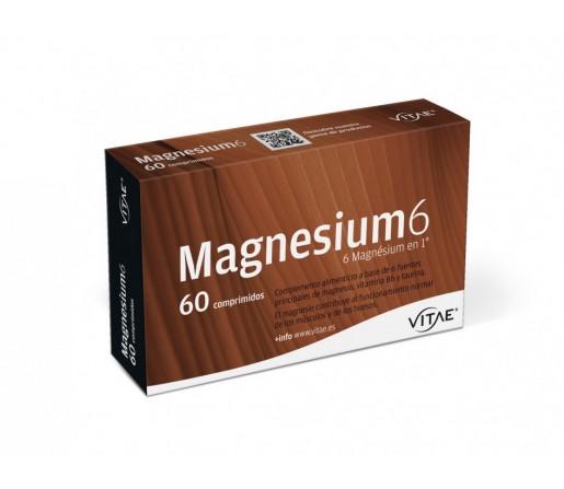 Magnesium 6, 6 fuentes de Magnesio con B6 y Taurina 60 comprimidos VITAE