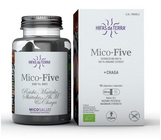 Mico-Five con Chaga Ecológico (Reishi, Maitake, Champiñon del sol, Shiitake...) 70 cápsulas HIFAS DA TERRA