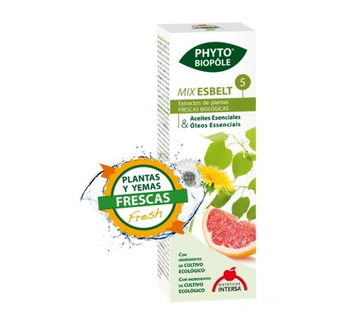 Mix Esbelt 5 Bio Extracto Phyto-biopôle abedul, ulmaria, fucus... 50ml. INTERSA