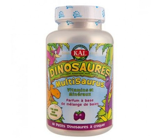 Multisaurus Dinosaurus, multinutriente niños con sabor a bayas 60 dinosaurios masticables KAL