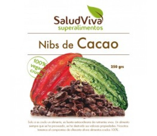 Nibs de Cacao Puro Biológico y Orgánico Superalimento 250gr. SALUD VIVA