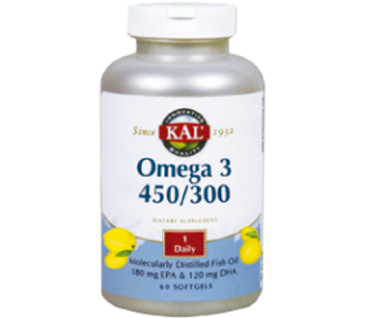 Omega 3 EPA 450 y DHA 300. 60 perlas Kal SOLARAY