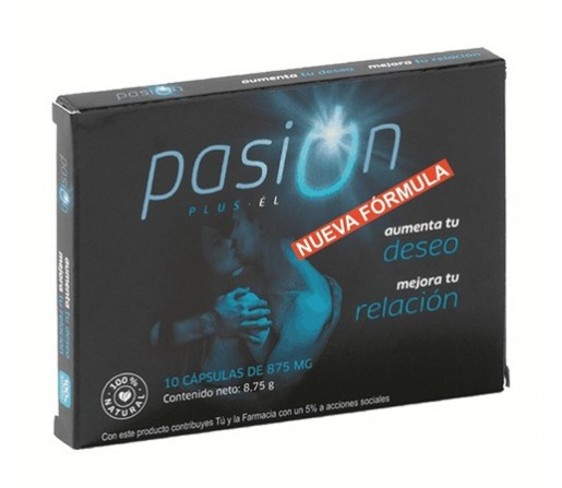 Pasion Plus El, mejora tu relación con Arginina, Tribulus, Maca, Ginseng, Zinc... 10 cápsulas ZOMEC