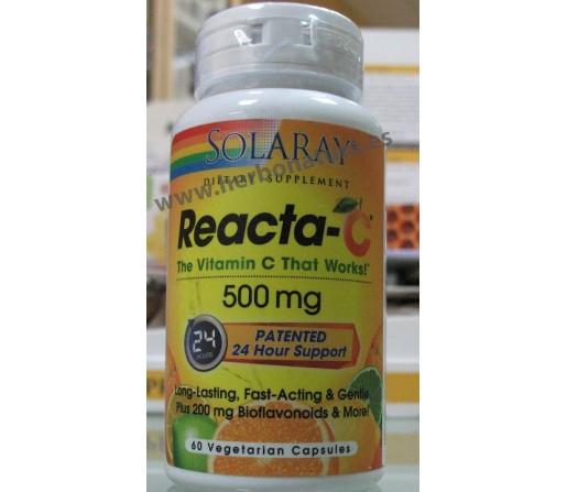 Reacta C 500mg. Ascorbato Cálcico 60 cápsulas SOLARAY