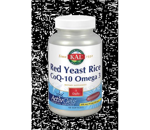 Red Yeast Rice, Coenzima Q10 y Omega 3, 60 perlas Solaray KAL