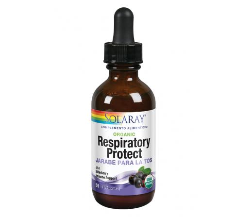 Jarabe Respiratory Protect- Vias Respiratorias, 59 ml (74 tomas). Apto para veganos. SOLARAY