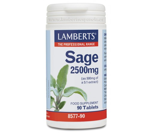 Salvia, Sage 2500mg, 90 comprimidos LAMBERTS