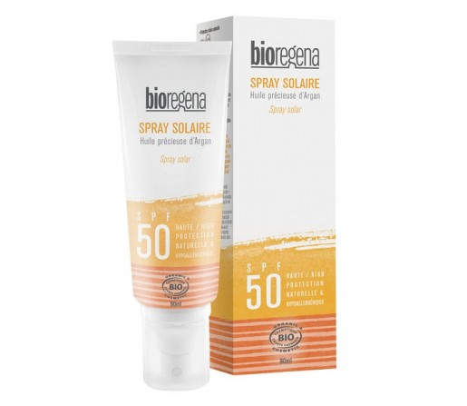 Spray solar SPF 50 biológico, Vegano con argán 90ml BIOREGENA