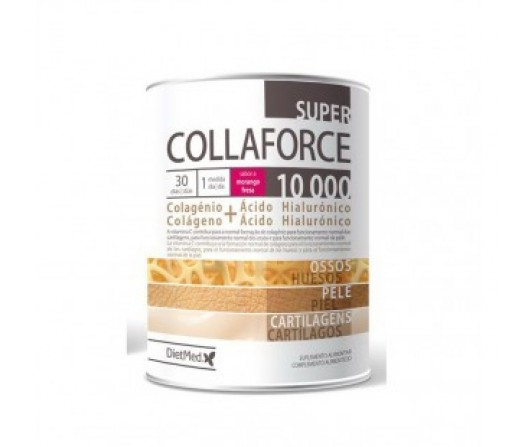Super Collaforce Sabor fresa, Colágeno, acido hialurónico... 450gr. DIETMED