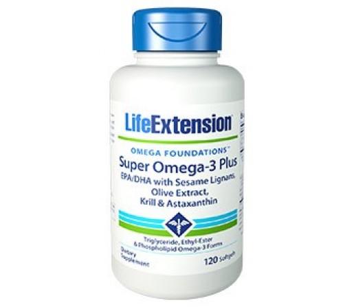 Super Omega 3 Plus EPA, DHA con Krill y Astaxantina 120 perlas LIFEEXTENSION
