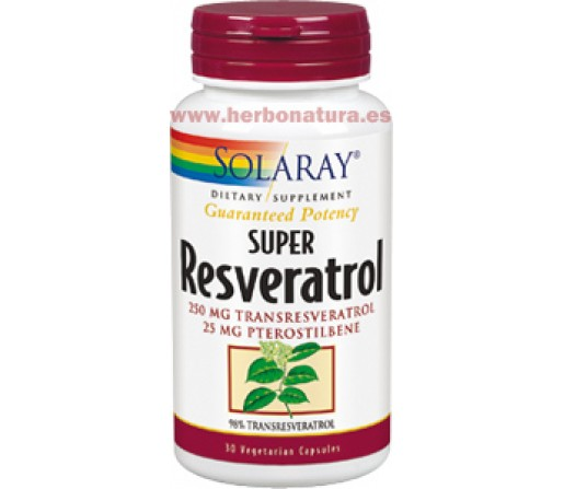 Super Resveratrol Potencia Garantizada 30 cápsulas SOLARAY