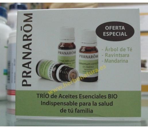 Trío de Aceites Esenciales Bio, Árbol de té, Ravintsara y Mandarina 3x10ml. PRANAROM