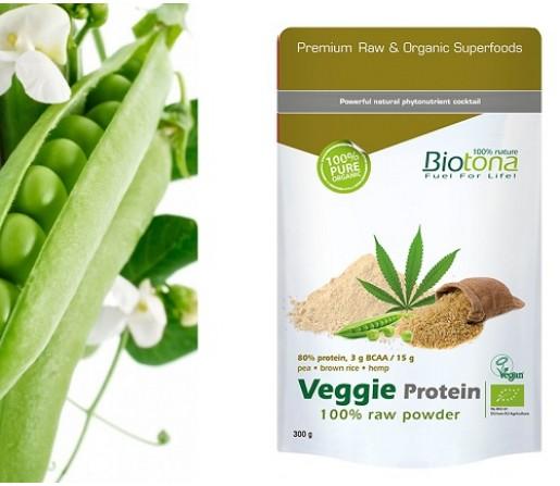Veggie Protein, Proteina Ecológica de Cáñamo, Guisante, Chia y Arroz 300gr. BIOTONA