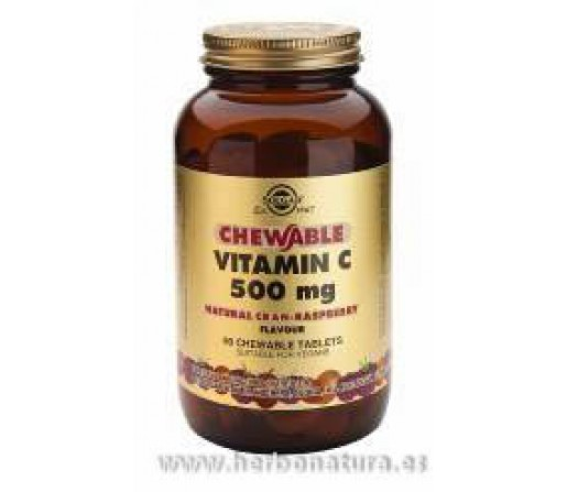 Vitamina C 500 mg Sabor natural de naranja 90 Comprimidos masticables SOLGAR