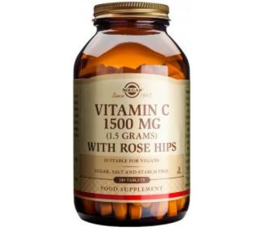 Vitamina C 1500 mg con Escaramijo (Rose Hips) 180 comprimidos SOLGAR