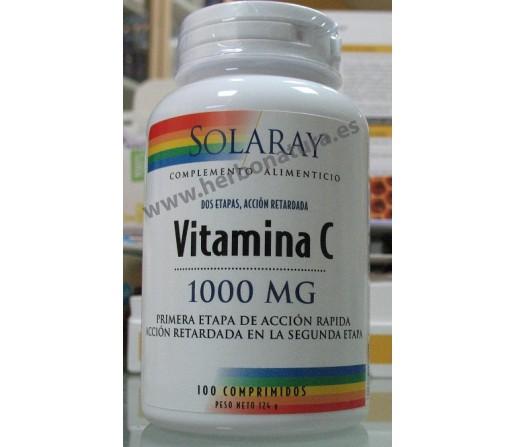 Vitamina C 1000mg 100 comprimidos Acción retardada SOLARAY