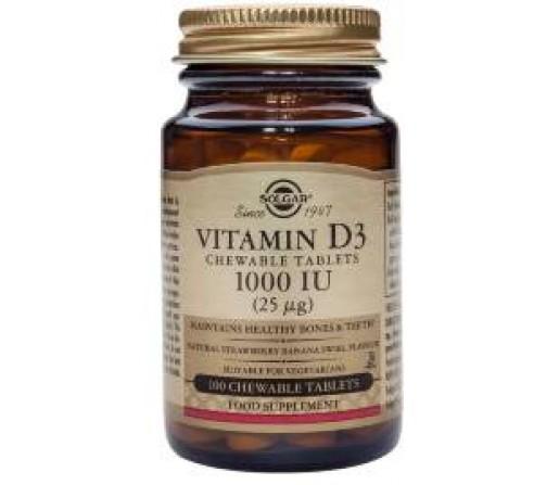 Vitamina D3 1000UI (25µg) Colecalciferol. Masticable 100 comprimidos SOLGAR