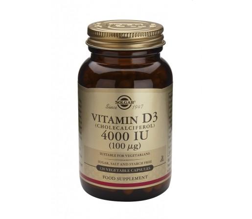 Vitamina D3 4000UI (100µg) Colecalciferol. 60 Cápsulas Vegetales SOLGAR