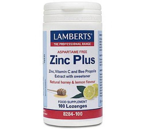 Zinc Plus Citrato de Zinc, Propóleo, Riboflavina y Vitamina C 100 comprimidos LAMBERTS